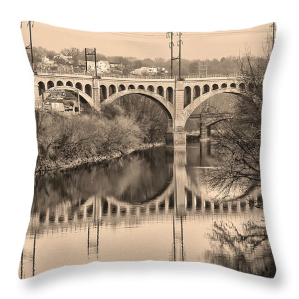The Schuylkill River and manayunk Bridge in Sepia Throw Pillow by Bill Cannon