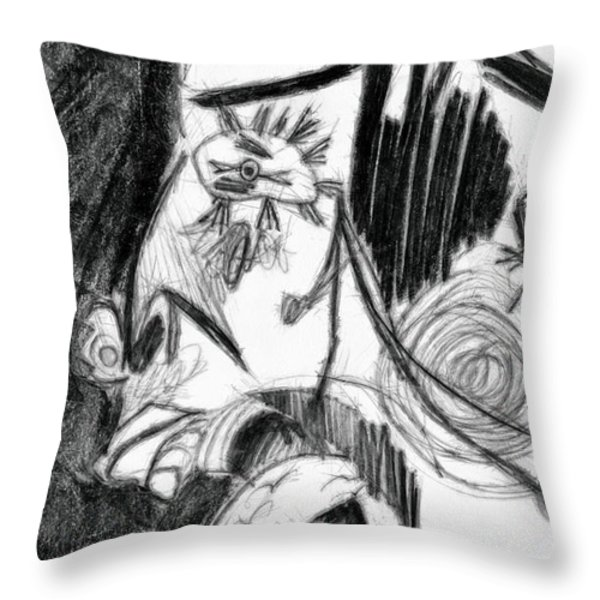 The Scream - Picasso Study Throw Pillow by Michelle Calkins