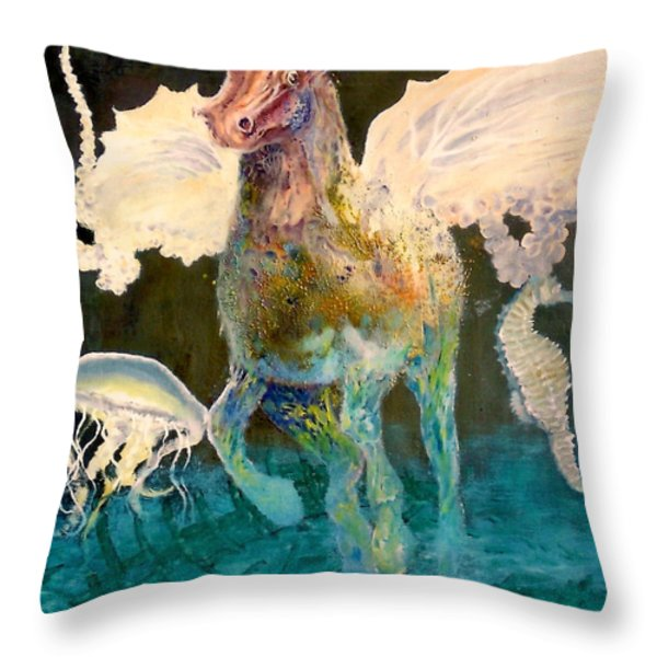 The Seahorse Throw Pillow by Henryk Gorecki