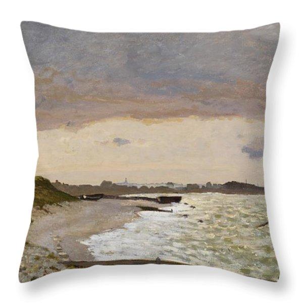 The Seashore At Sainte Adresse Throw Pillow by Claude Monet