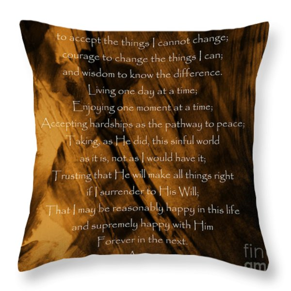 The Serenity Prayer Throw Pillow by Andrea Anderegg