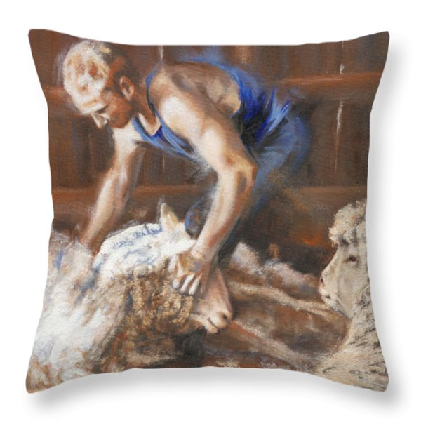 The Shearing Throw Pillow by Mia DeLode