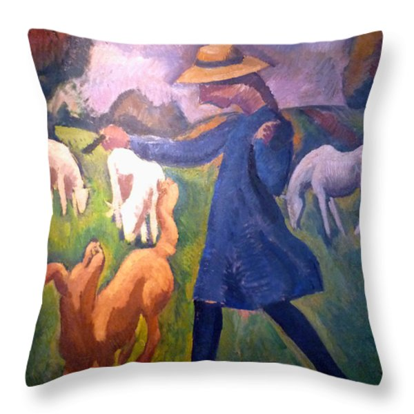 The Shepherdess Throw Pillow by Roger de La Fresnaye