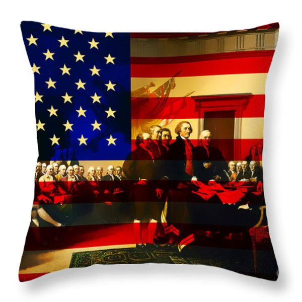 The Signing of The United States Declaration of Independence and Old Glory 20131220 Throw Pillow by Wingsdomain Art and Photography