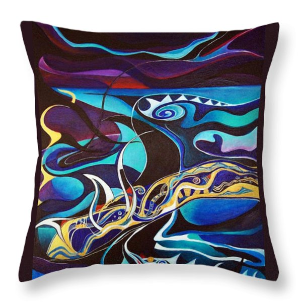 the singing of the Sirens Throw Pillow by Wolfgang Schweizer