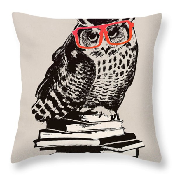 The smart nerdy owl Throw Pillow by Budi Kwan