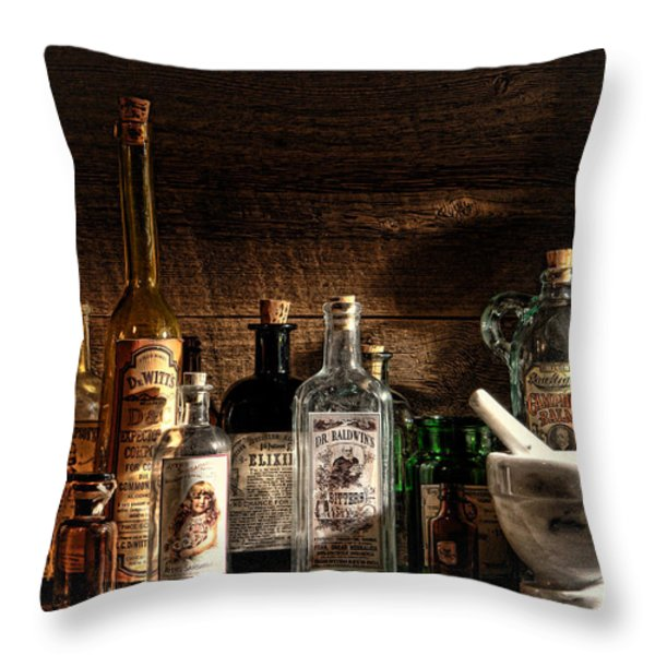 The Snake Oil Shop Throw Pillow by Olivier Le Queinec