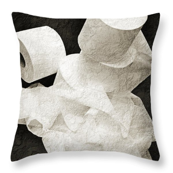 The Spare Rolls 1 - Toilet Paper - Bathroom Design - Restroom - Powder Room Throw Pillow by Andee Design