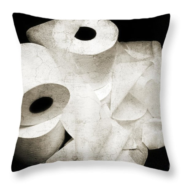 The Spare Rolls 2 - Toilet Paper - Bathroom Design - Restroom - Powder Room Throw Pillow by Andee Design