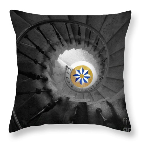 The Spiral Staircase Of Villa Vizcaya Bwcolor Throw Pillow by Mike Nellums