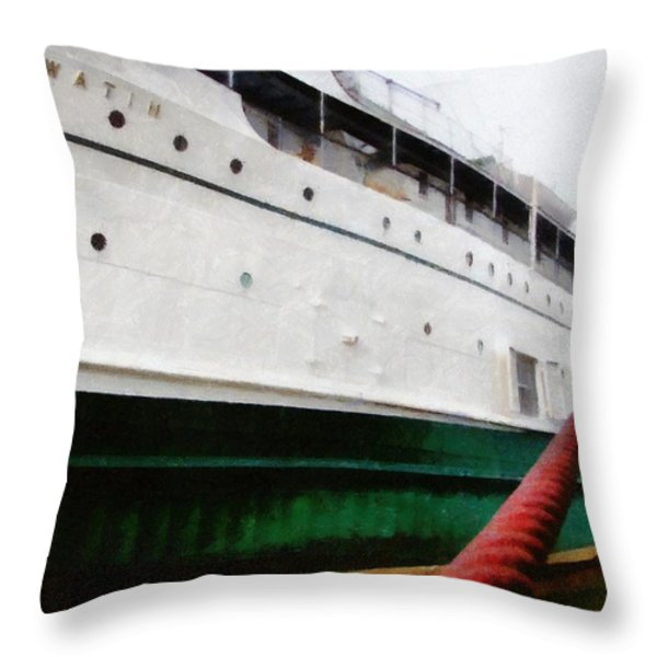 The S.S. Keewatin Throw Pillow by Michelle Calkins