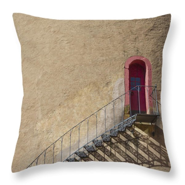 The Staircase To The Red Door Throw Pillow by Heiko Koehrer-Wagner