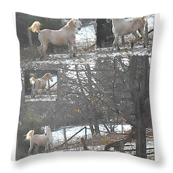 The Stallion Lives In The Country Throw Pillow by Patricia Keller