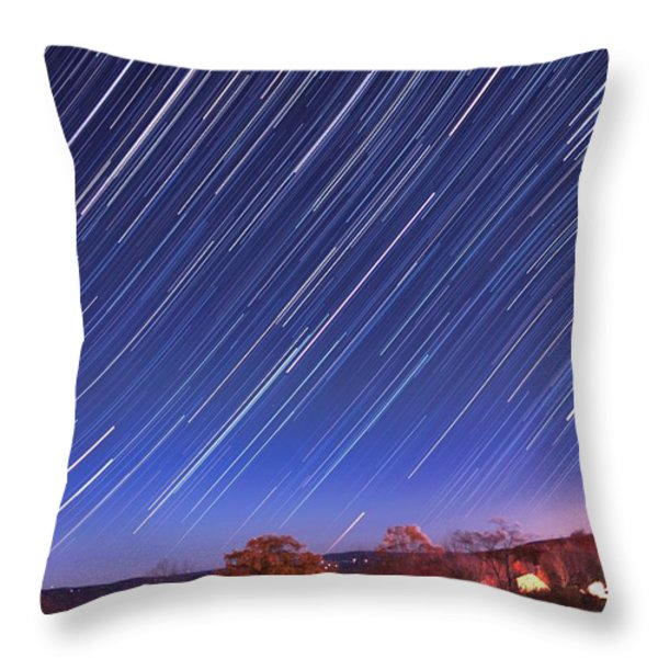 The star trail in Ithaca Throw Pillow by Paul Ge