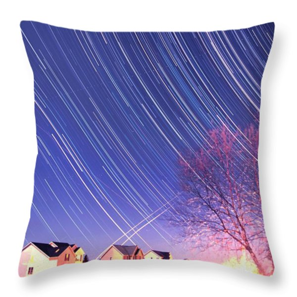 The Star Trails Throw Pillow by Paul Ge