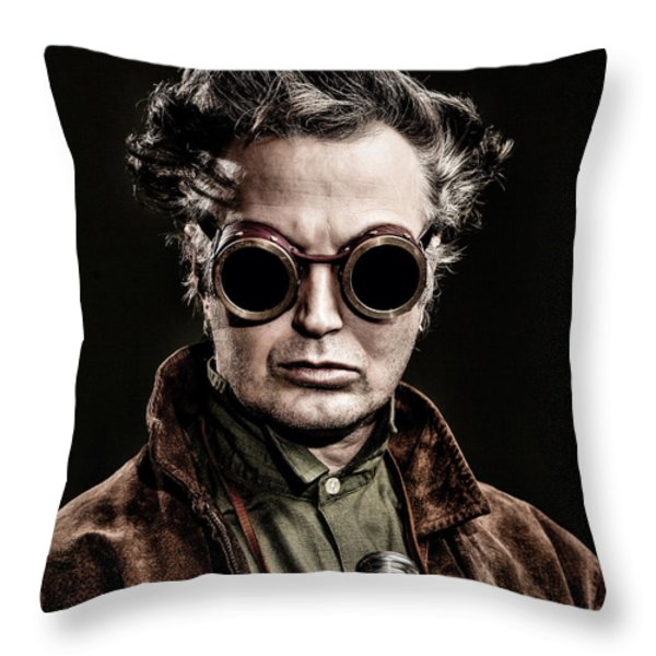The Steampunk - Sci-Fi Throw Pillow by Gary Heller