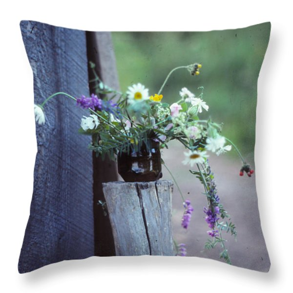 The Still Life Of Wild Flowers Throw Pillow by Patricia Keller