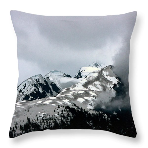 The Storm Rolls Into Glacier Bay Throw Pillow by John Haldane