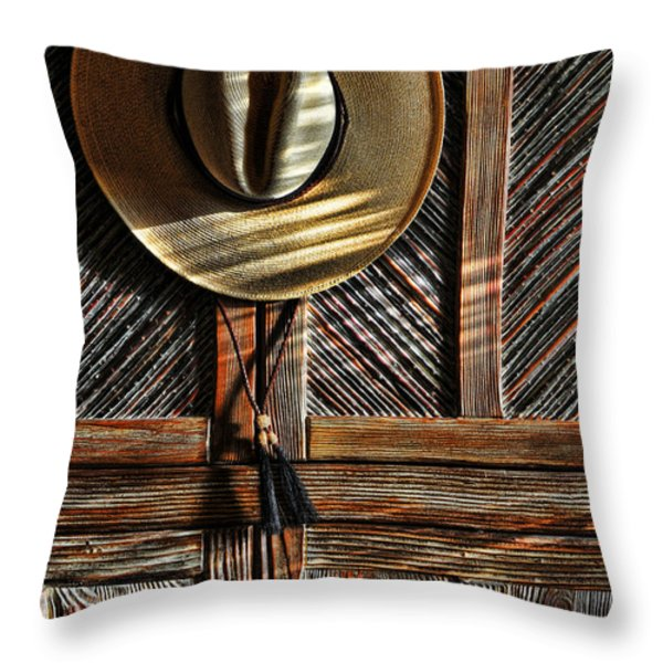 The Straw Hat Throw Pillow by Karen Slagle