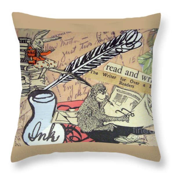 The Studious Rabbit And The Monkey Throw Pillow by Eloise Schneider