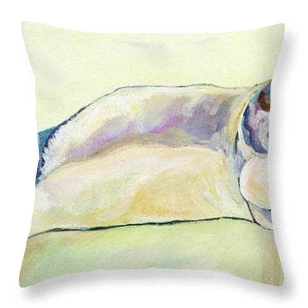The Sunbather Throw Pillow by Pat Saunders-White