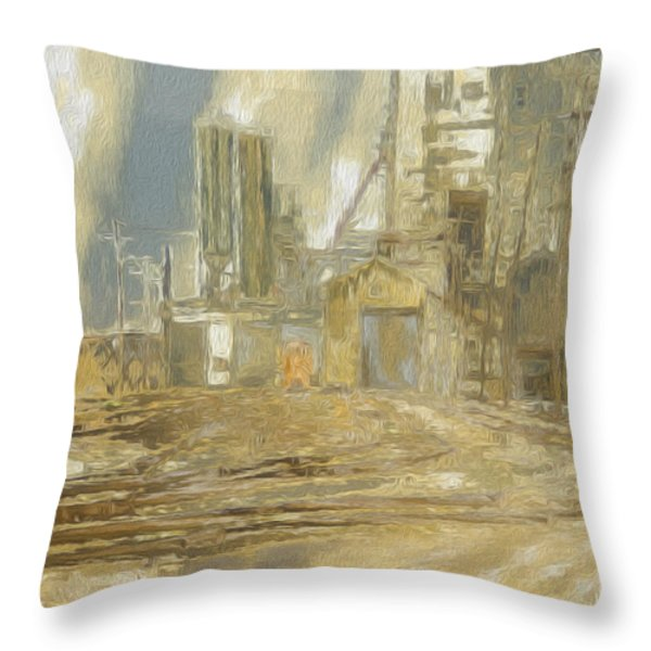 The Switch Yard Throw Pillow by Jack Zulli