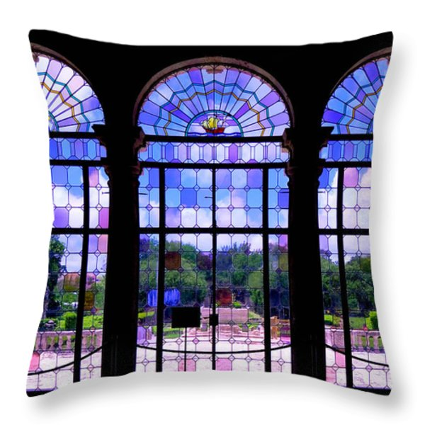 The Tea Room Vizcaya Museum and Gardens Biscayne Bay Miami Florida Throw Pillow by Amy Cicconi