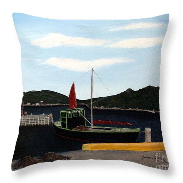The Tekakwitha - Black Schooner Throw Pillow by Barbara Griffin