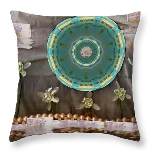 the temple of mammon Throw Pillow by Pepita Selles