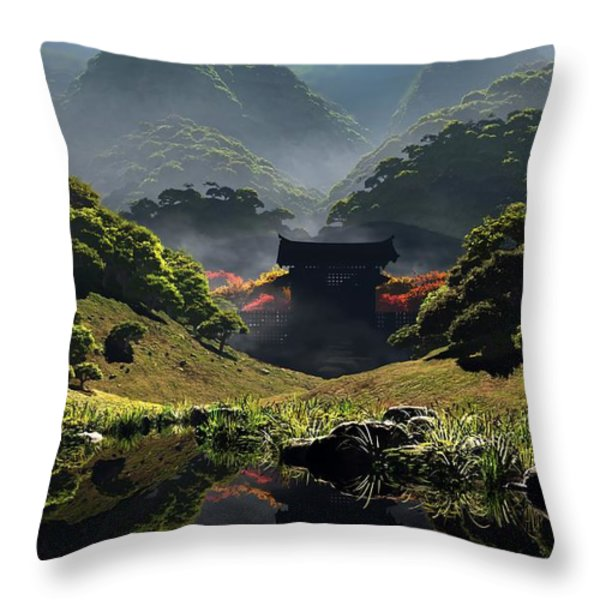 The Temple of Perpetual Autumn Throw Pillow by Cynthia Decker
