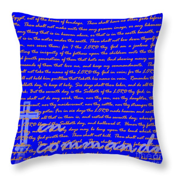 The Ten Commandments 20130213blue Throw Pillow by Wingsdomain Art and Photography