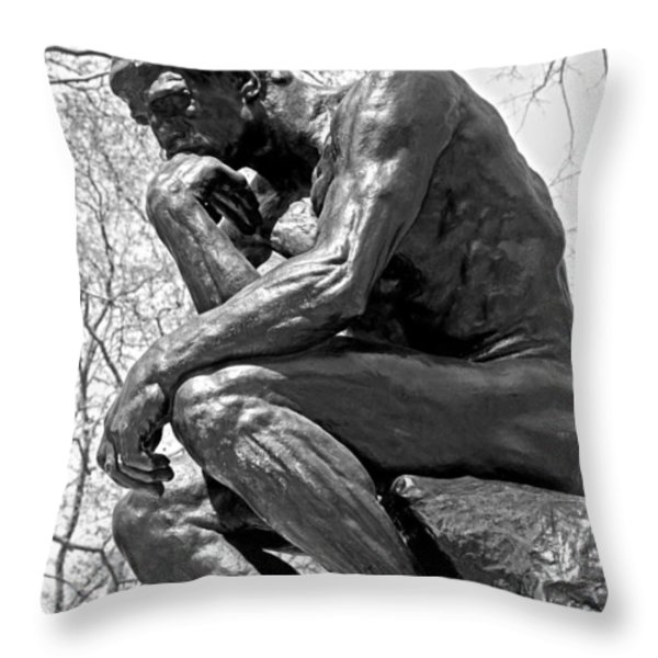 The Thinker in Black and White Throw Pillow by Lisa  Phillips