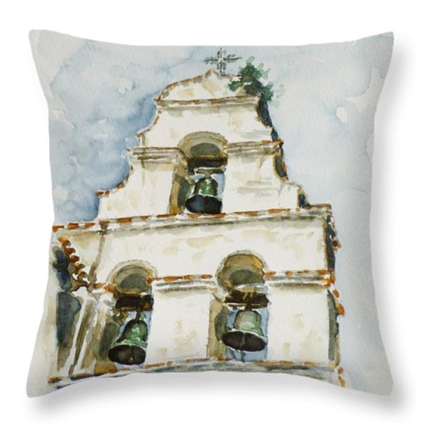 The Three-bell Campanario At Mission San Juan Bautista Throw Pillow by Zaira Dzhaubaeva