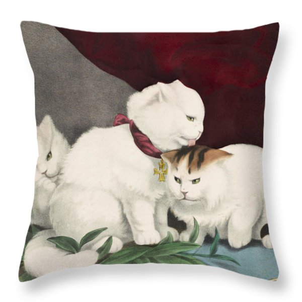 The Three White Kittens Circa 1856 Throw Pillow by Aged Pixel