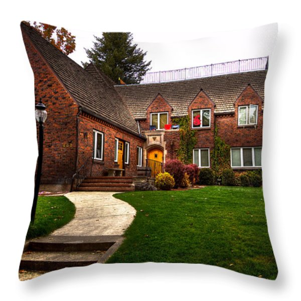 The TKE House on the WSU Campus Throw Pillow by David Patterson