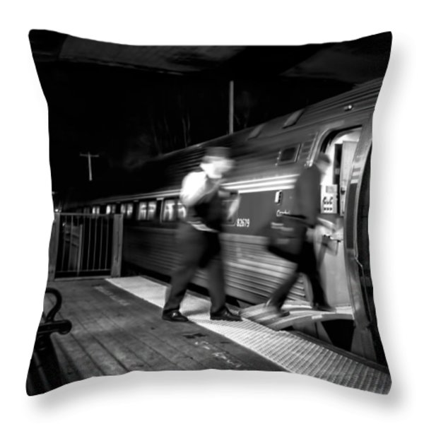 The Train Conductor Throw Pillow by Bob Orsillo