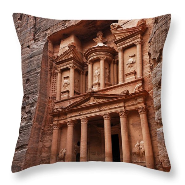 The Treasury In Petra Jordan Throw Pillow by Robert Preston