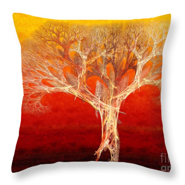 The Tree In Fall At Sunset - Painterly - Abstract - Fractal Art Throw Pillow by Andee Design