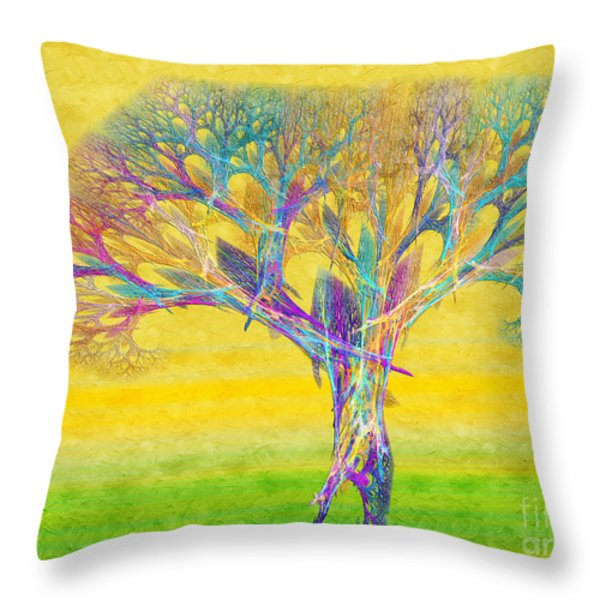The Tree In Spring At Midday - Painterly - Abstract - Fractal Art Throw Pillow by Andee Design
