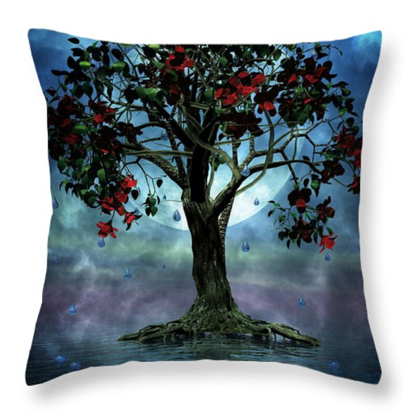 The Tree that Wept a Lake of Tears Throw Pillow by John Edwards