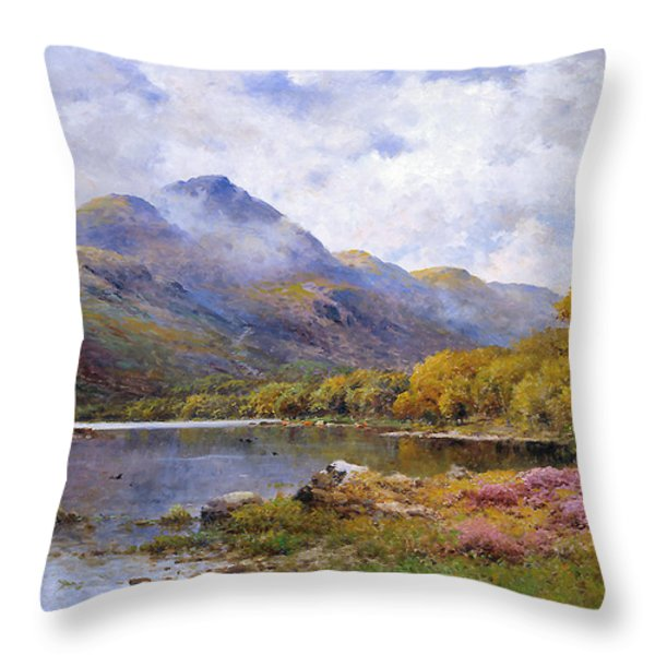 The Trossachs Ben  Throw Pillow by Alfred de Breanski Jr