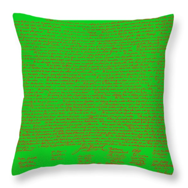 The United States Declaration of Independence 20130215 Throw Pillow by Wingsdomain Art and Photography