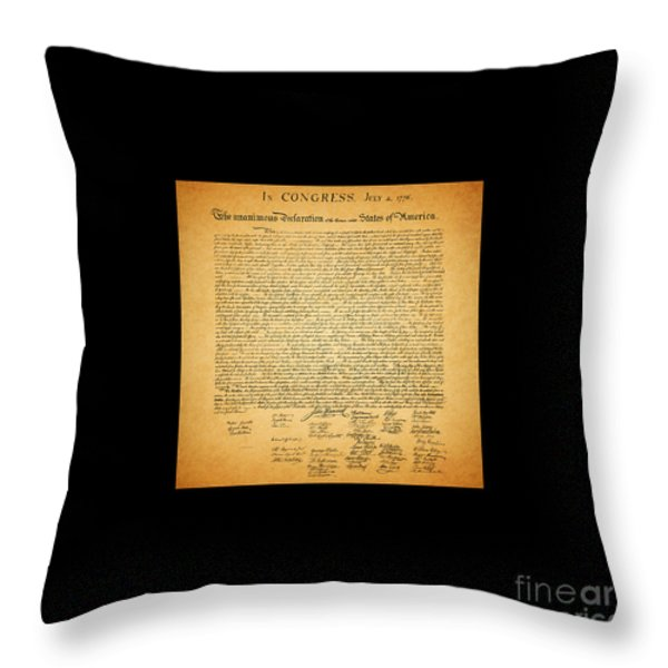 The United States Declaration of Independence - square black border Throw Pillow by Wingsdomain Art and Photography