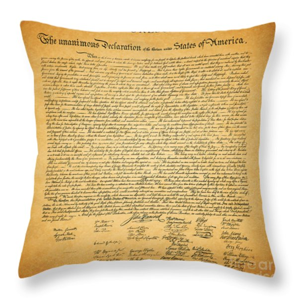 The United States Declaration Of Independence - Square Throw Pillow by Wingsdomain Art and Photography