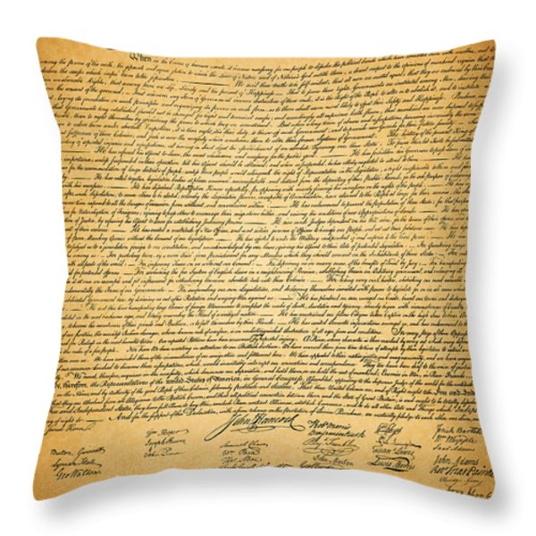 The United States Declaration Of Independence Throw Pillow by Wingsdomain Art and Photography