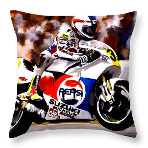 The Unleashing   Kevin Schwantz Throw Pillow by Iconic Images Art Gallery David Pucciarelli