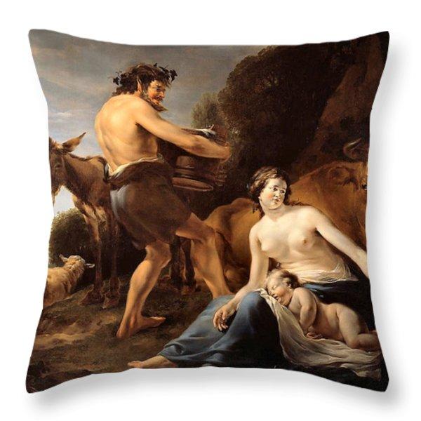 The Upbringing of Zeus Throw Pillow by Nicolaes Pietersz Berchem