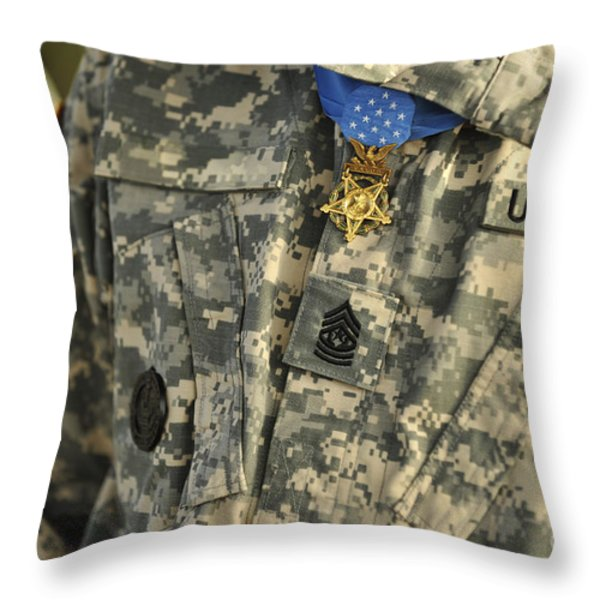 The U.s. Army Medal Of Honor Is Worn Throw Pillow by Stocktrek Images