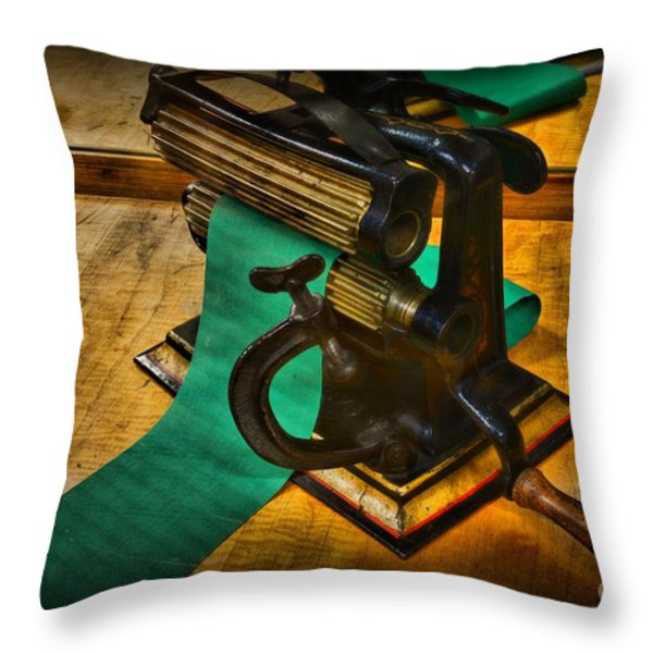 The Victorian Seamstress Throw Pillow by Paul Ward