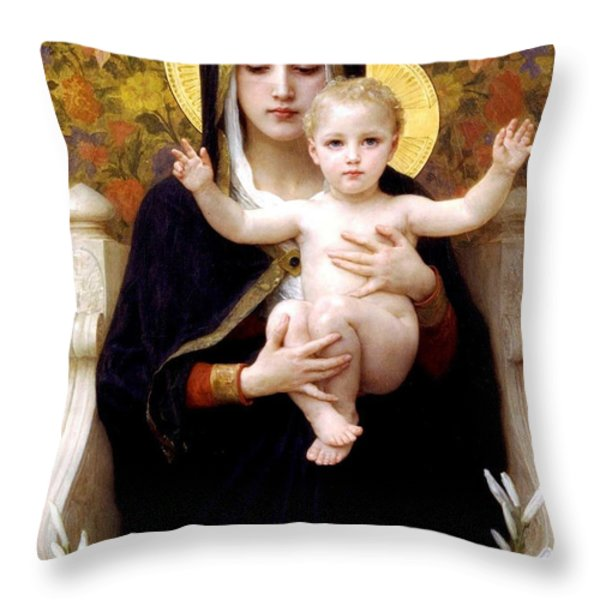 The Virgin Of The Lilies Throw Pillow by William Bouguereau